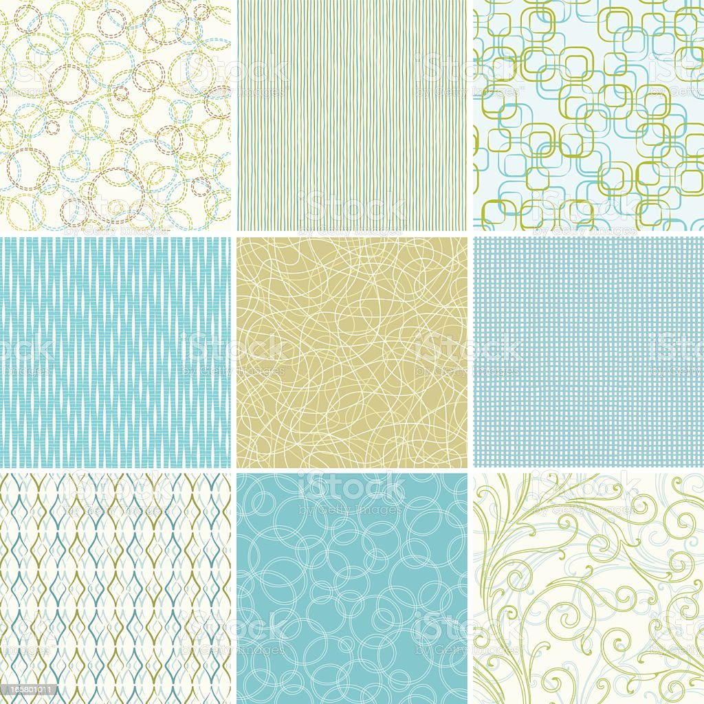 Set of blue and green seamless wallpaper patterns royalty-free stock vector art