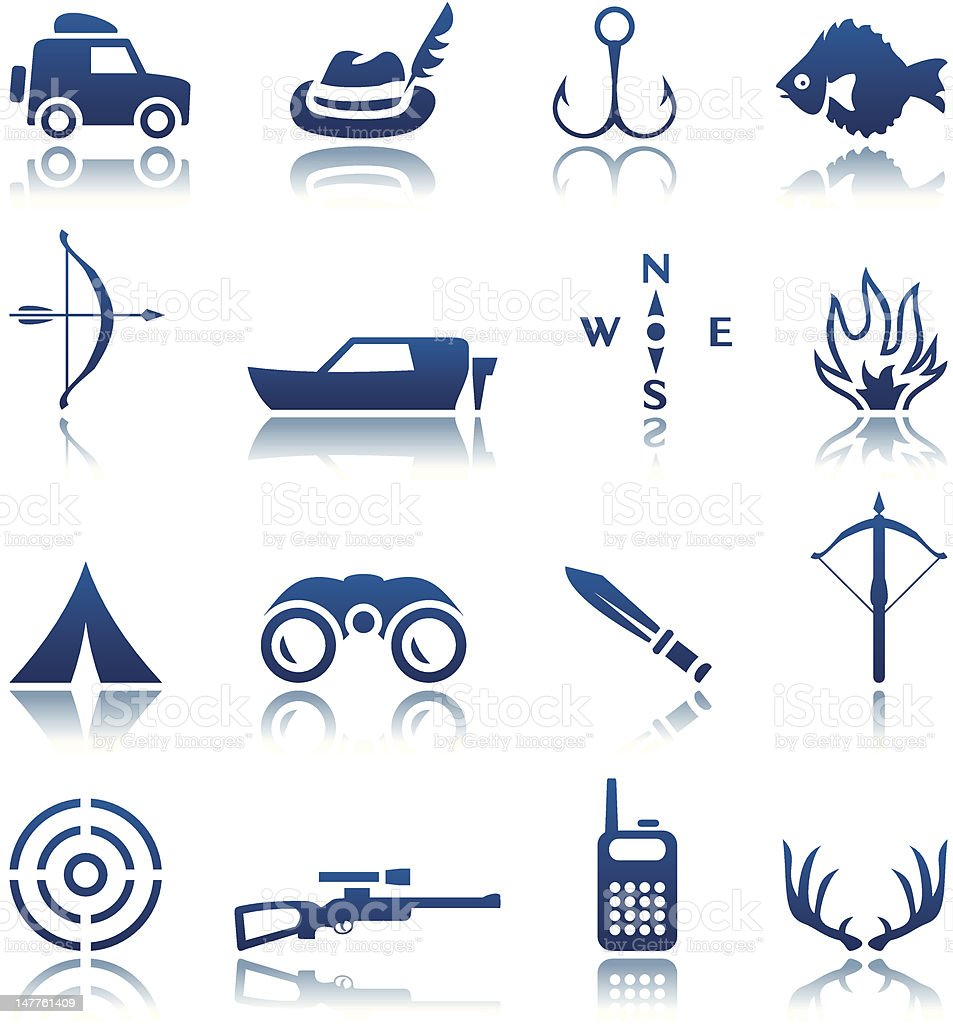 Set of blue and white hunting and fishing icons vector art illustration