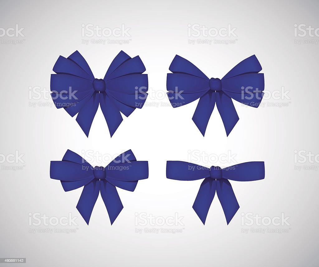 Set of blue bows isolated on white vector art illustration