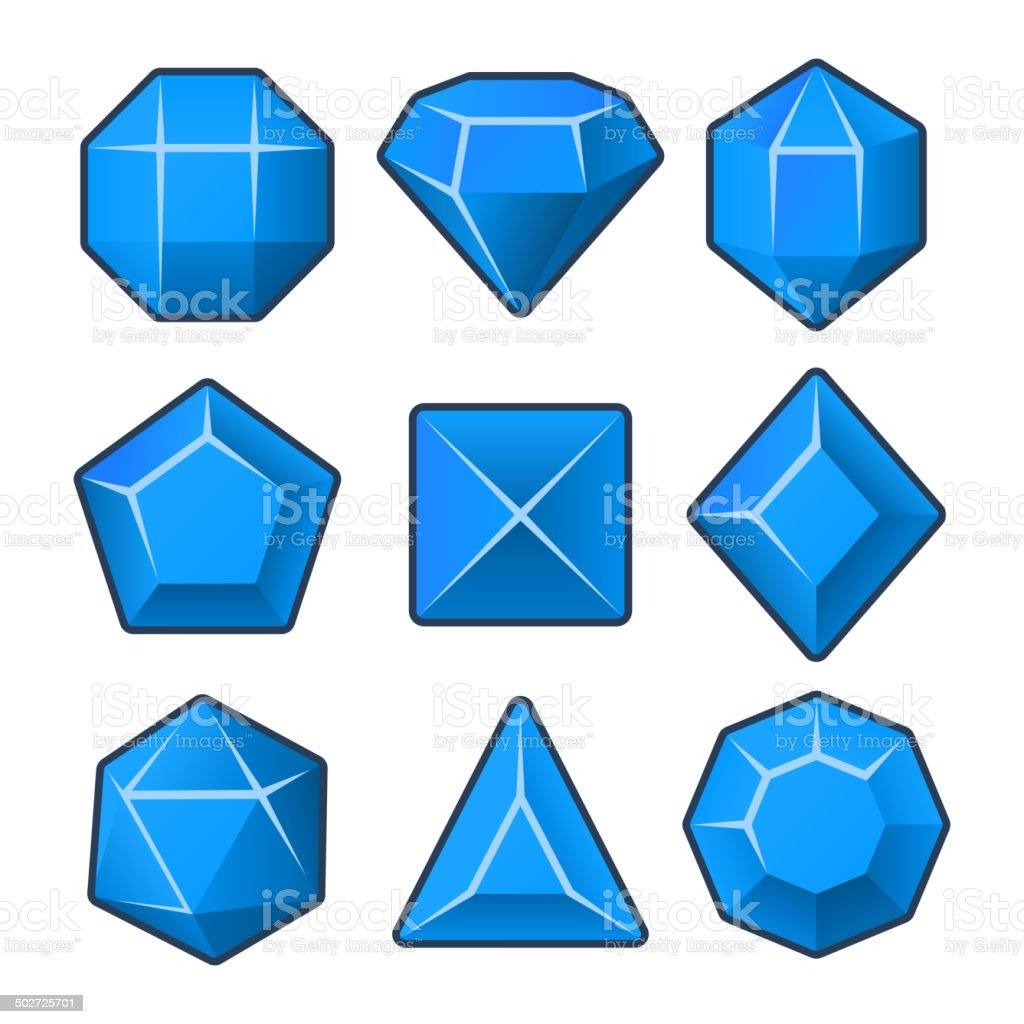 Set of Blue Gems for Match3 Games. Vector royalty-free stock vector art