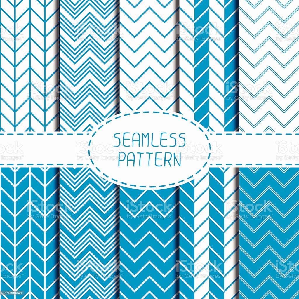 Set of blue geometric seamless pattern with chevron. Wrapping paper. vector art illustration