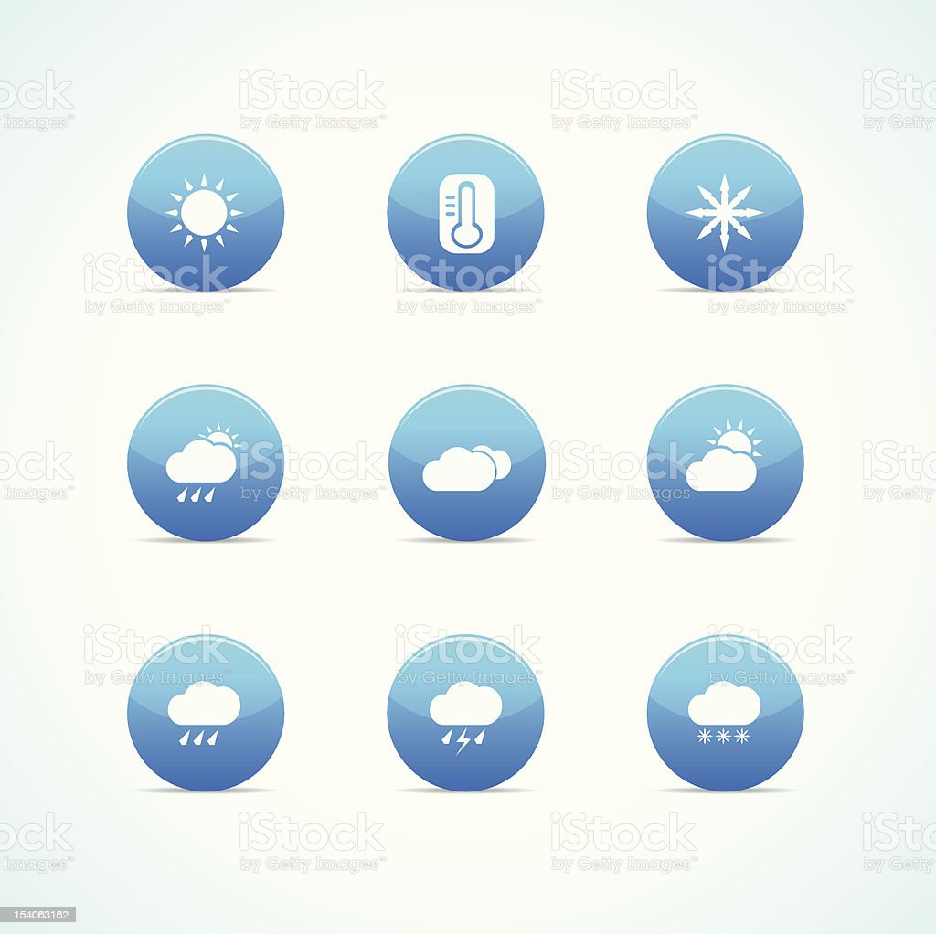 Set of blue glossy weather icons stock photo