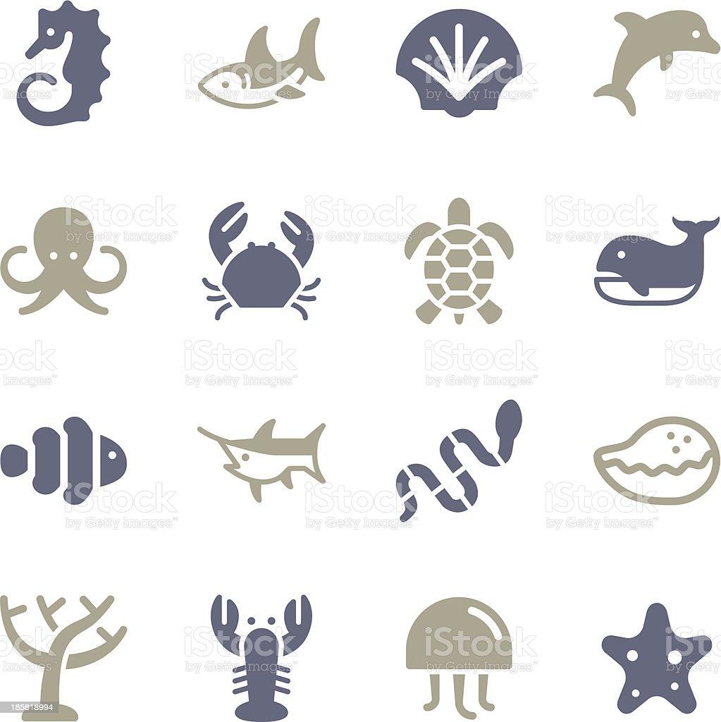 Set of blue & gray marine life icon set vector art illustration