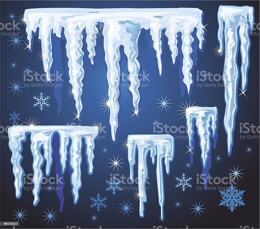 Set of blue icicles royalty-free stock vector art