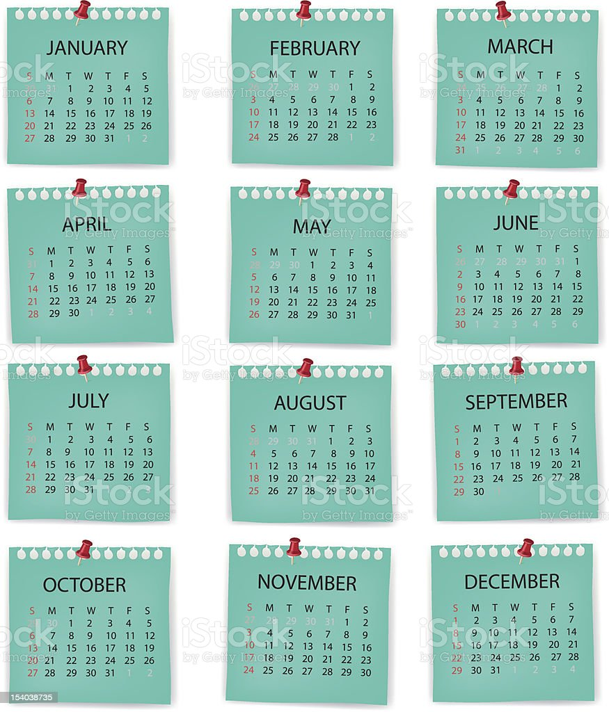 Set of blue month calendars for years starting on a Tuesday royalty-free stock vector art