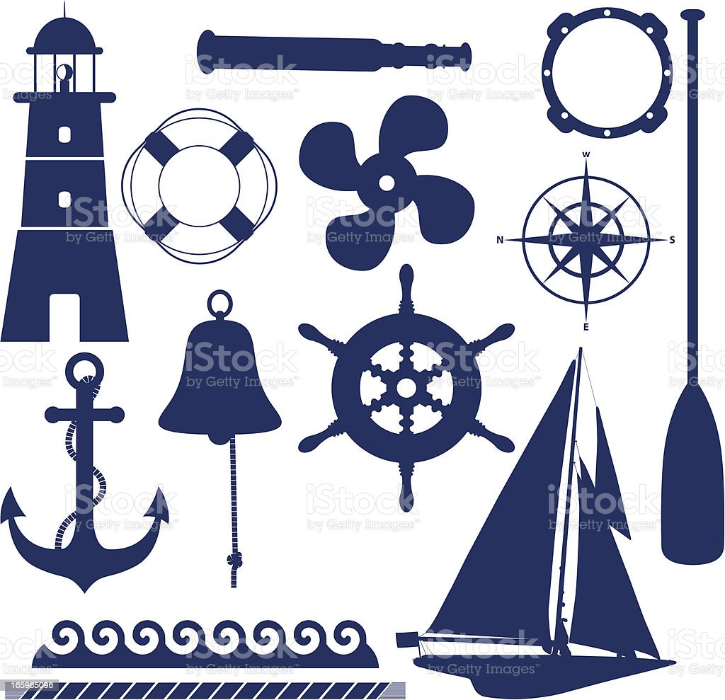 Set of blue nautical and maritime themed icons vector art illustration