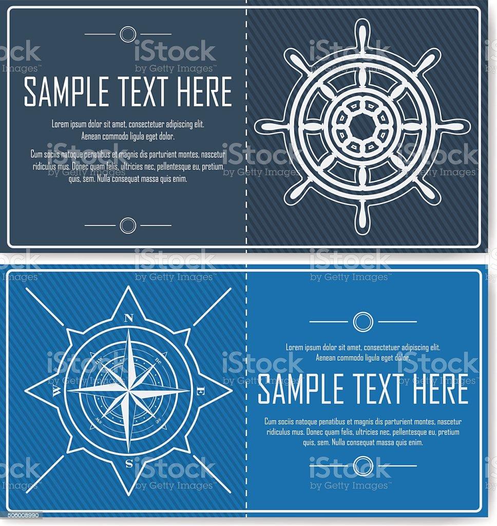 Set of blue nautical flyers vector art illustration
