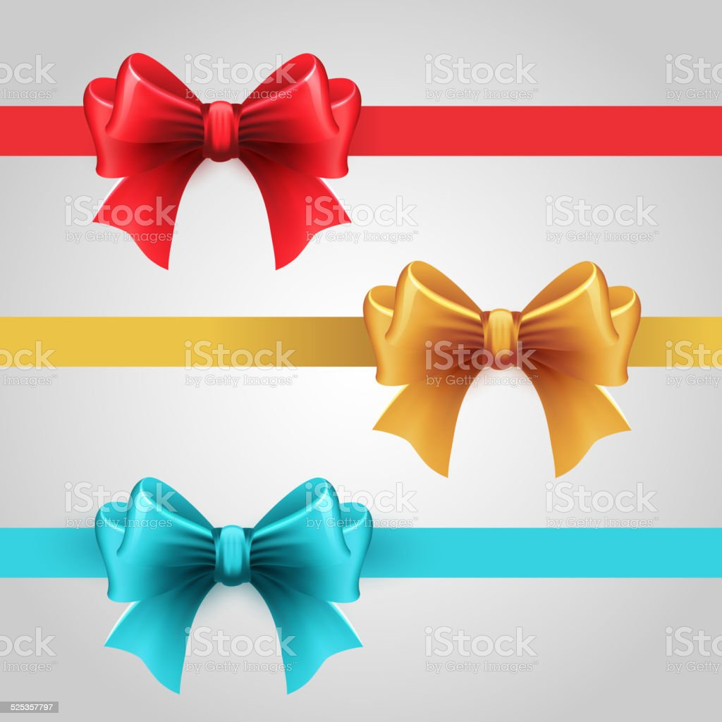 Set of blue, Red and gold holiday ribbon with bow vector art illustration