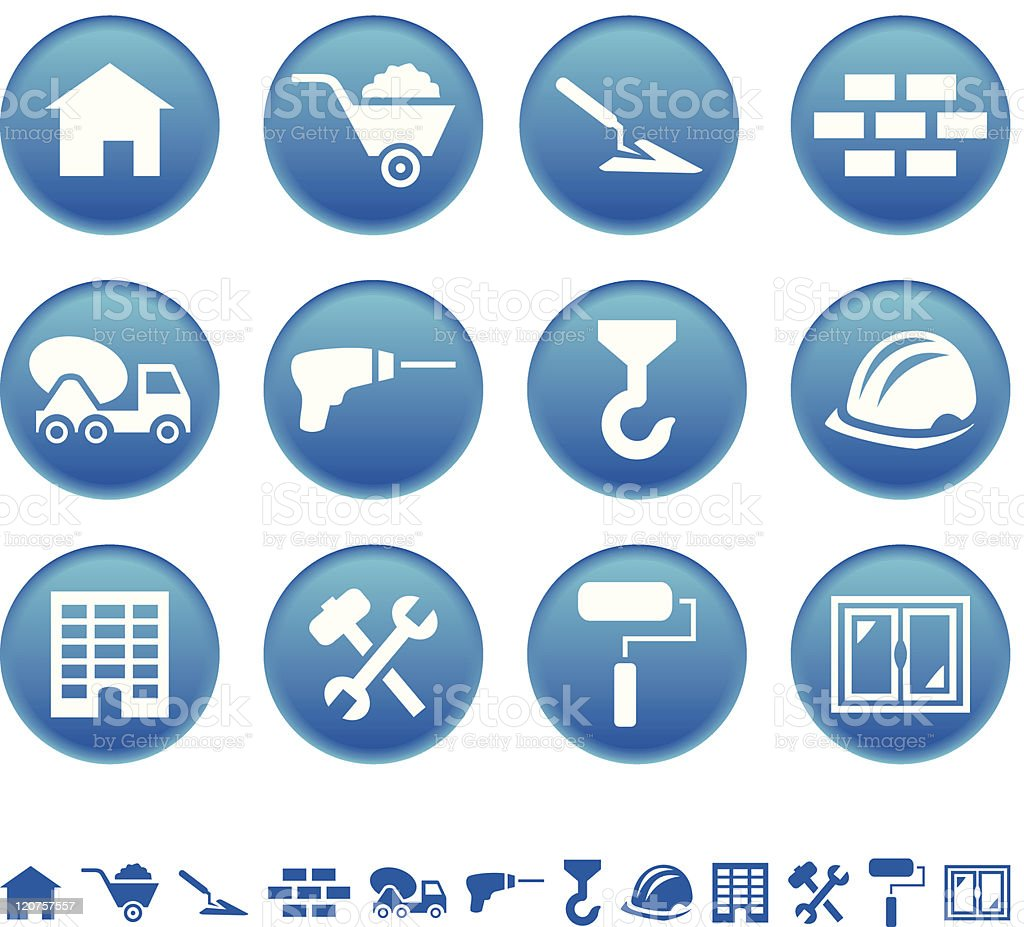 Set of blue round construction icons royalty-free stock vector art