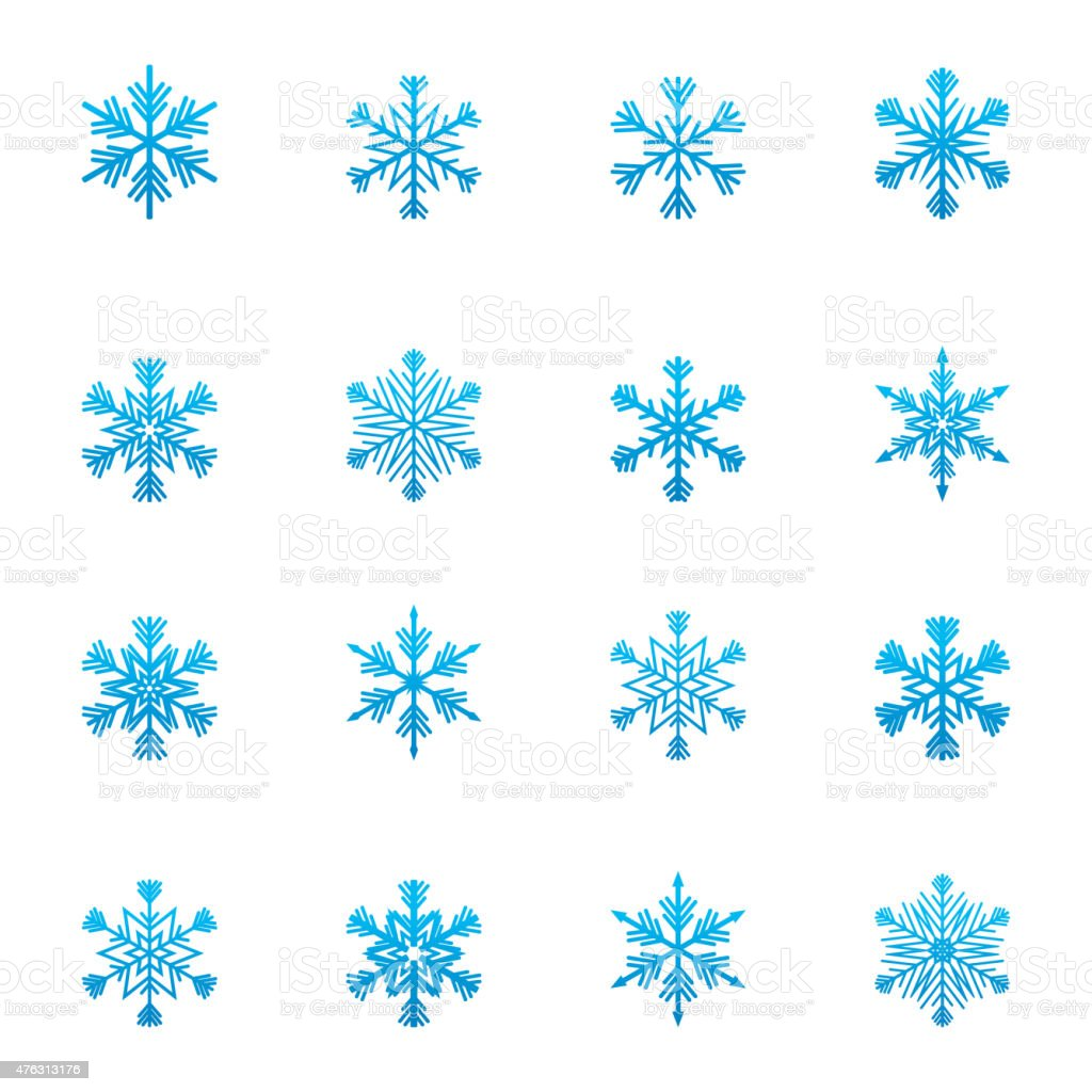 Set of blue snowflakes icon vector art illustration