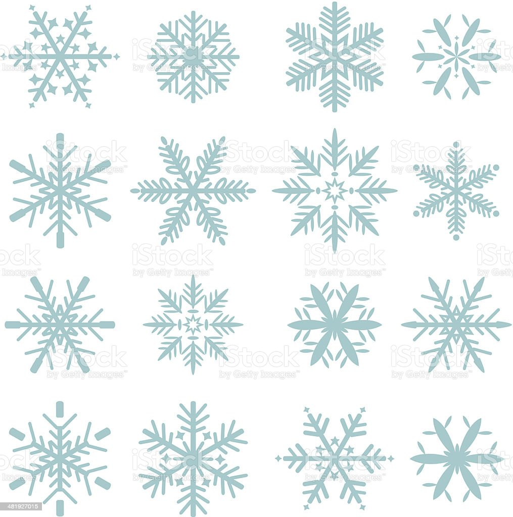 set of blue snowflakes icons vector art illustration