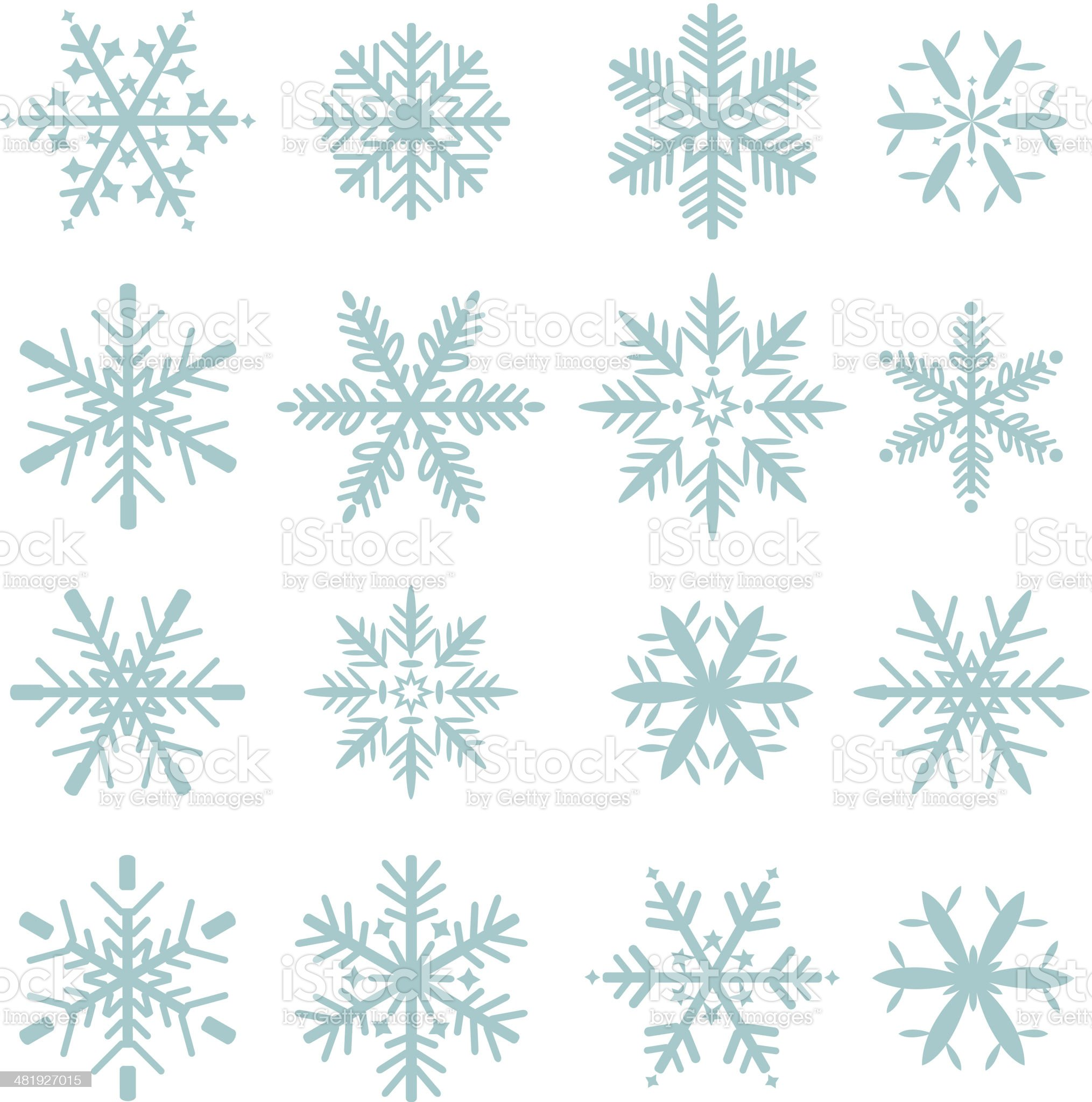 set of blue snowflakes icons royalty-free stock vector art