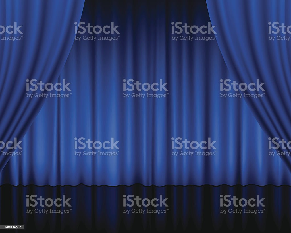 Blue stage curtains blue stage curtain vector free vector in - A Set Of Blue Theater Curtains Vector Art