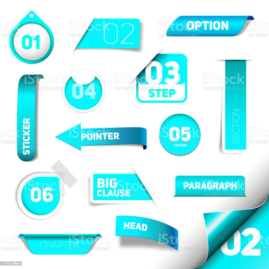 Set of blue vector progress step icons vector art illustration