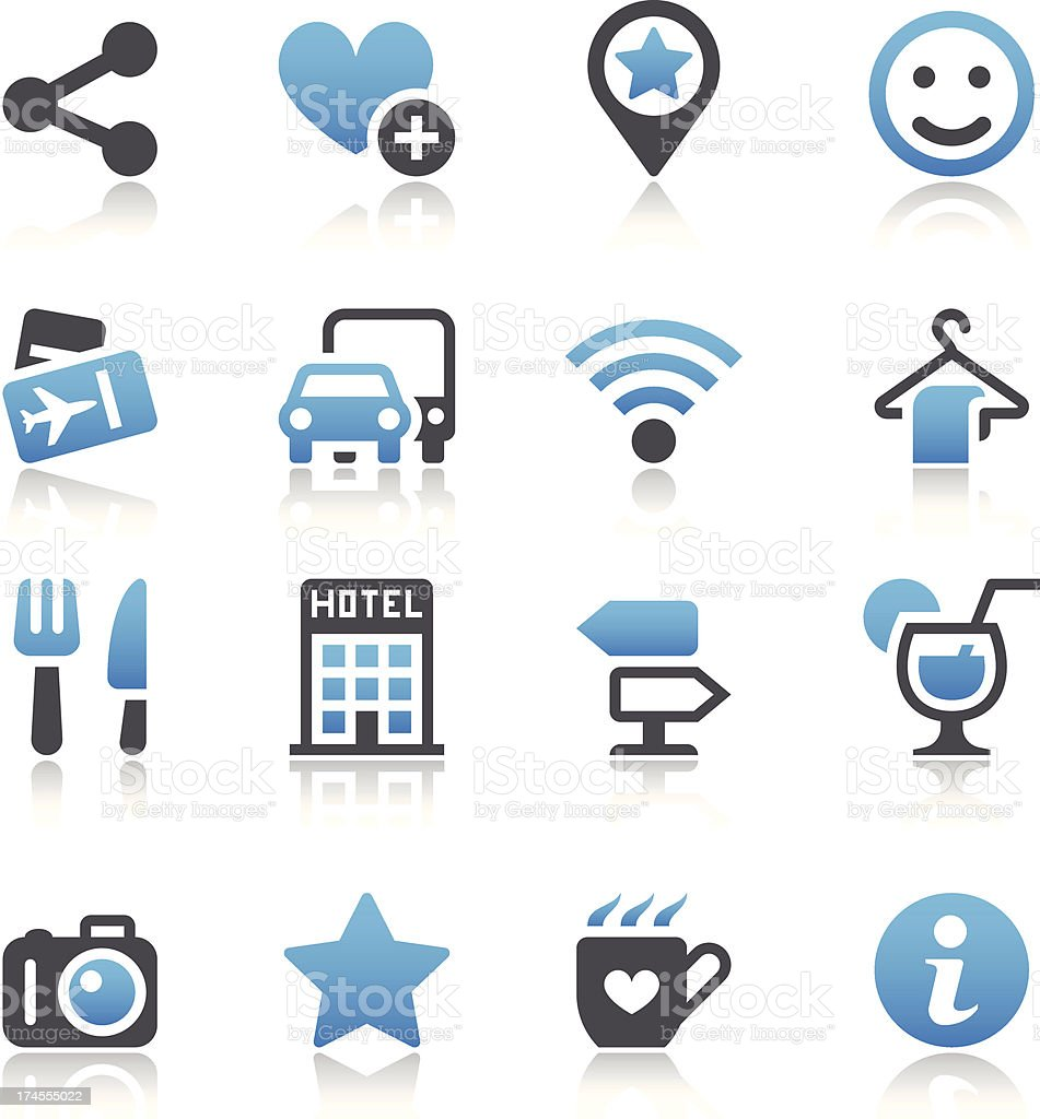 Set of blue-and-gray travel icons vector art illustration
