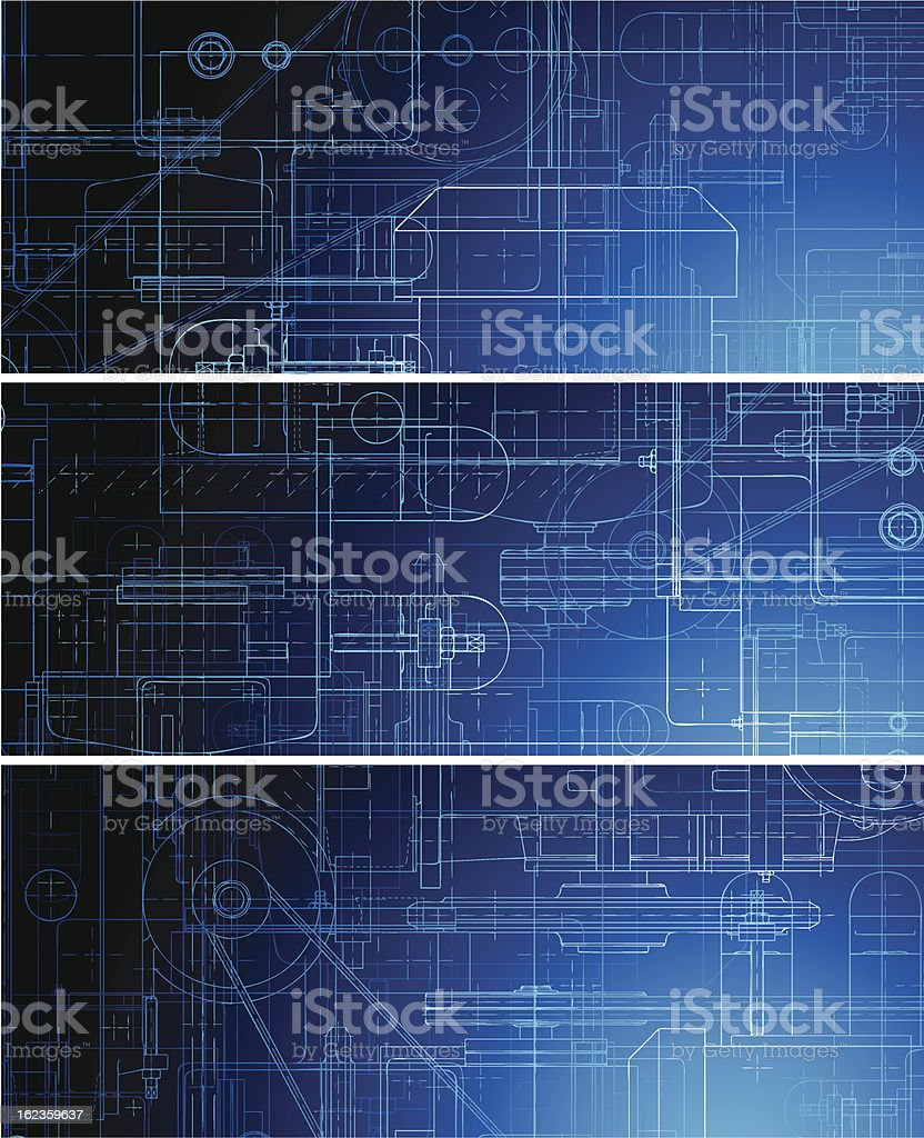 Set of blueprint banners royalty-free stock vector art
