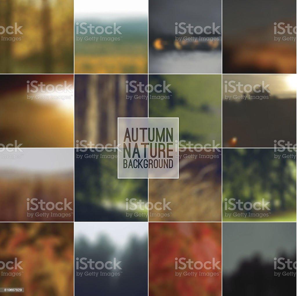 Set of blurred backgrounds landscape vector art illustration