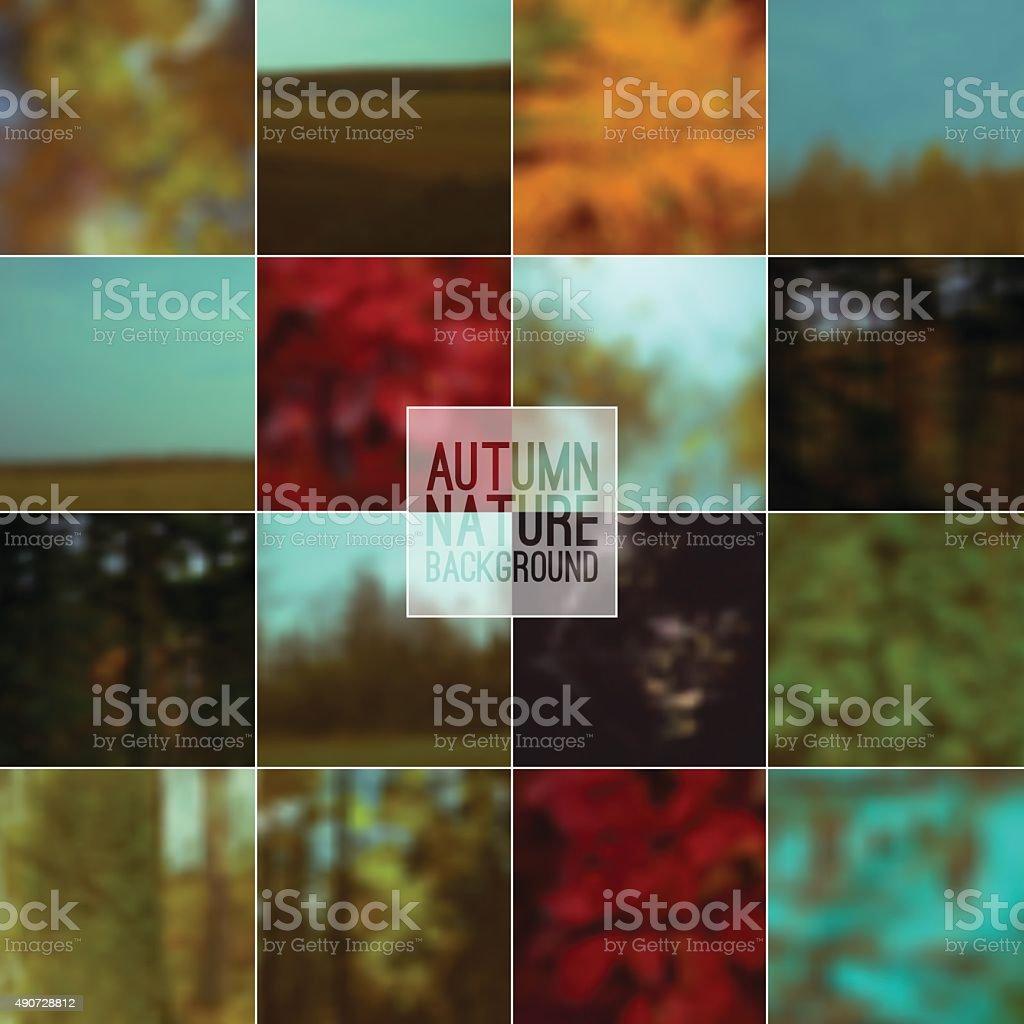 Set of blurred backgrounds nature vector art illustration