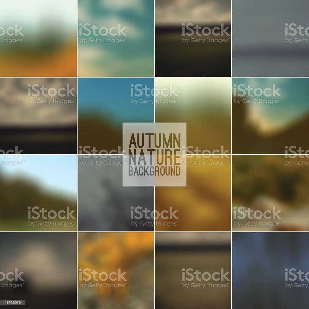 Set of blurred backgrounds vector art illustration
