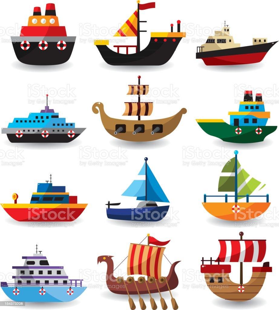 set of boat vector art illustration