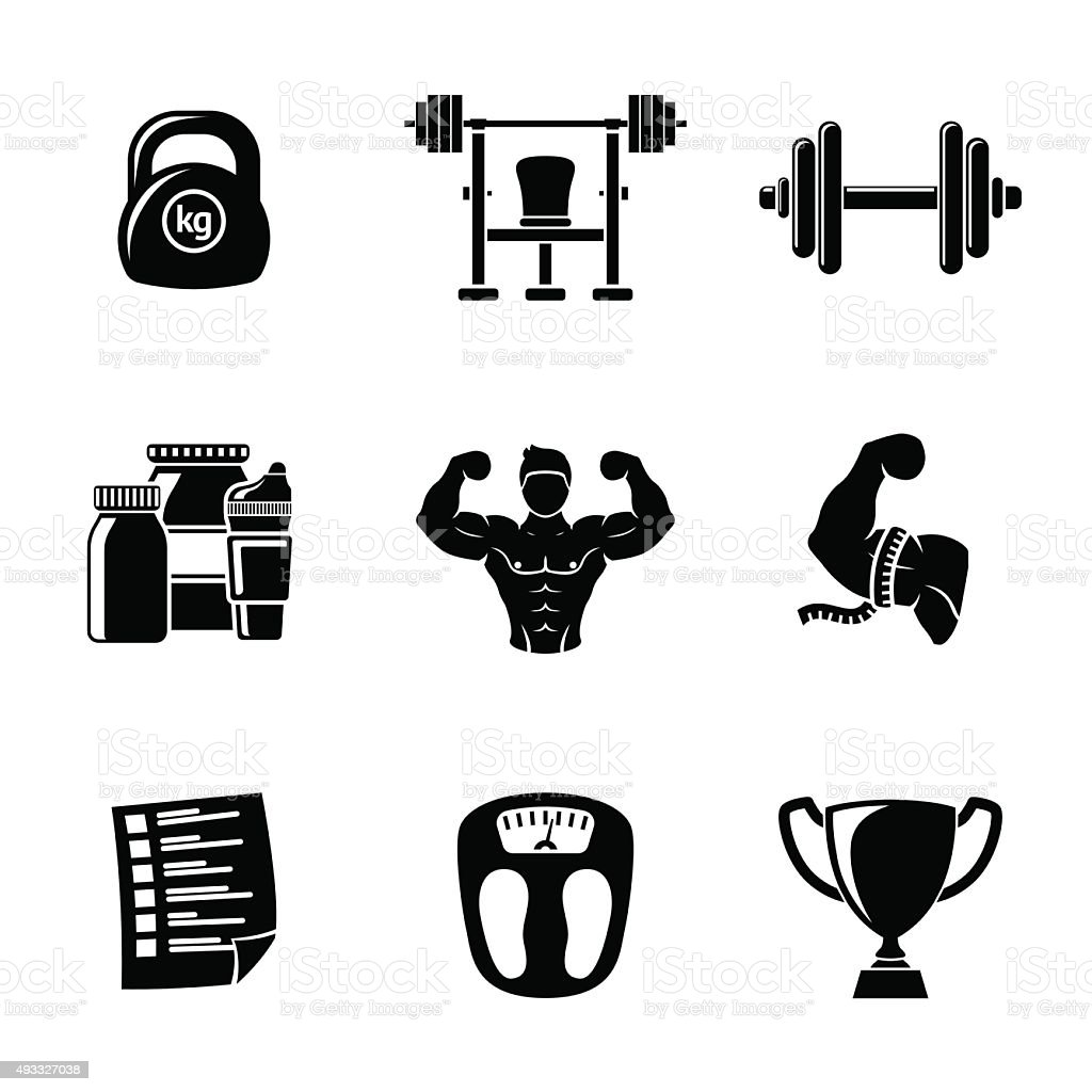 Set of Bodybuilding icons with - dumbbell, weight, bodybuilder, scales vector art illustration