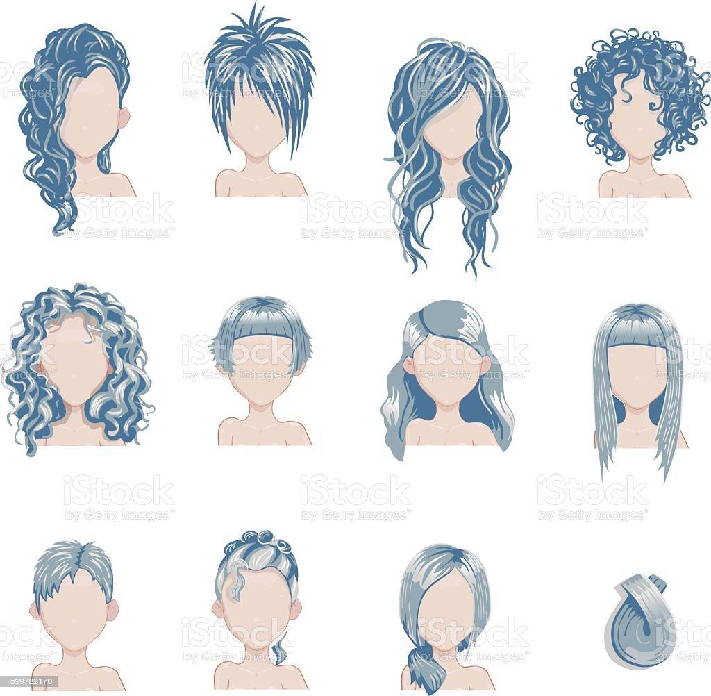 Set of bold hair colors female style sprites. vector art illustration