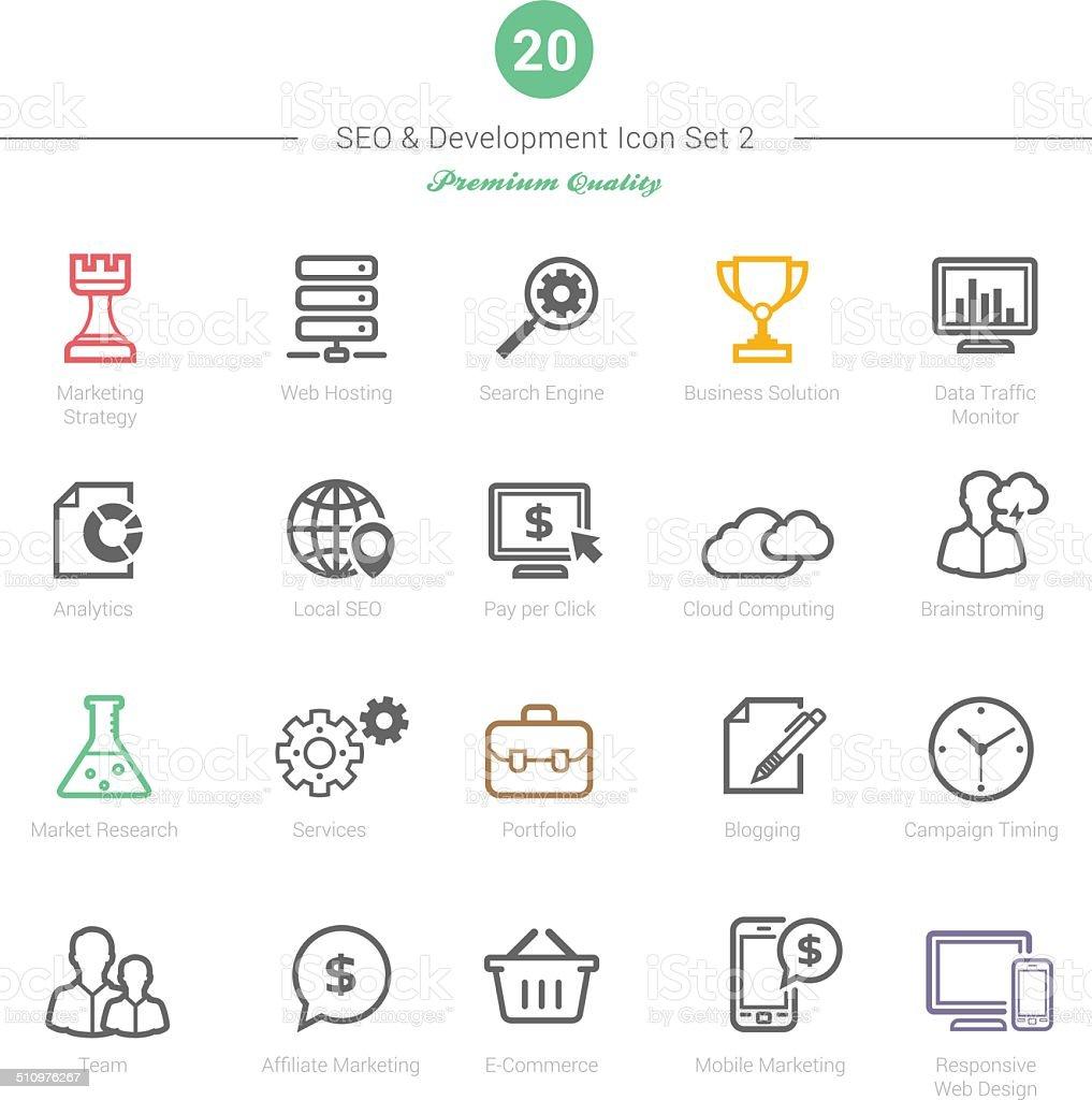 Set of Bold Stroke SEO and Development icons Set 2 vector art illustration
