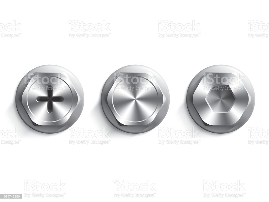 Set of bolts and washers vector art illustration