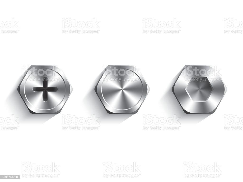 Set of bolts vector art illustration
