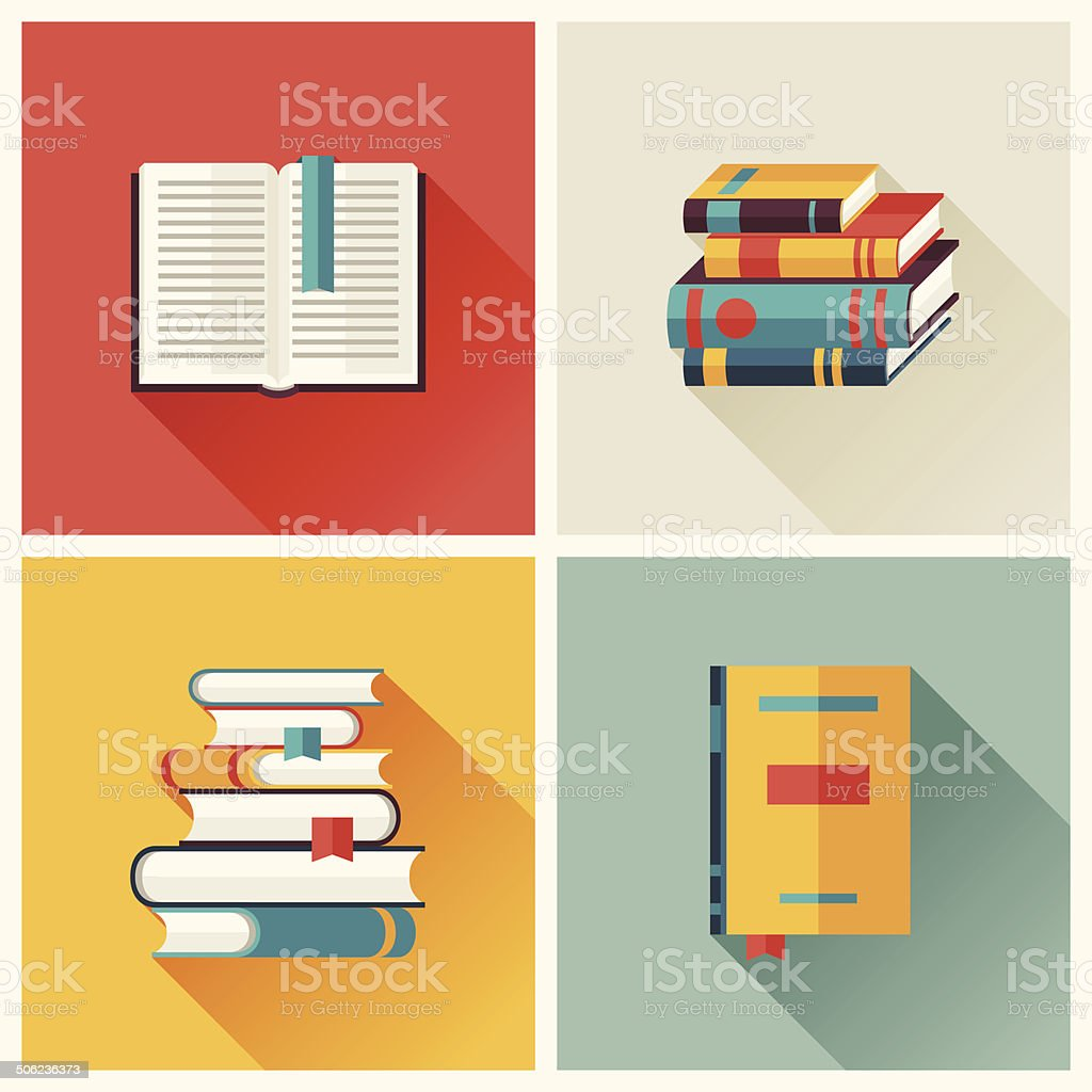 Set of book icons in flat design style. vector art illustration