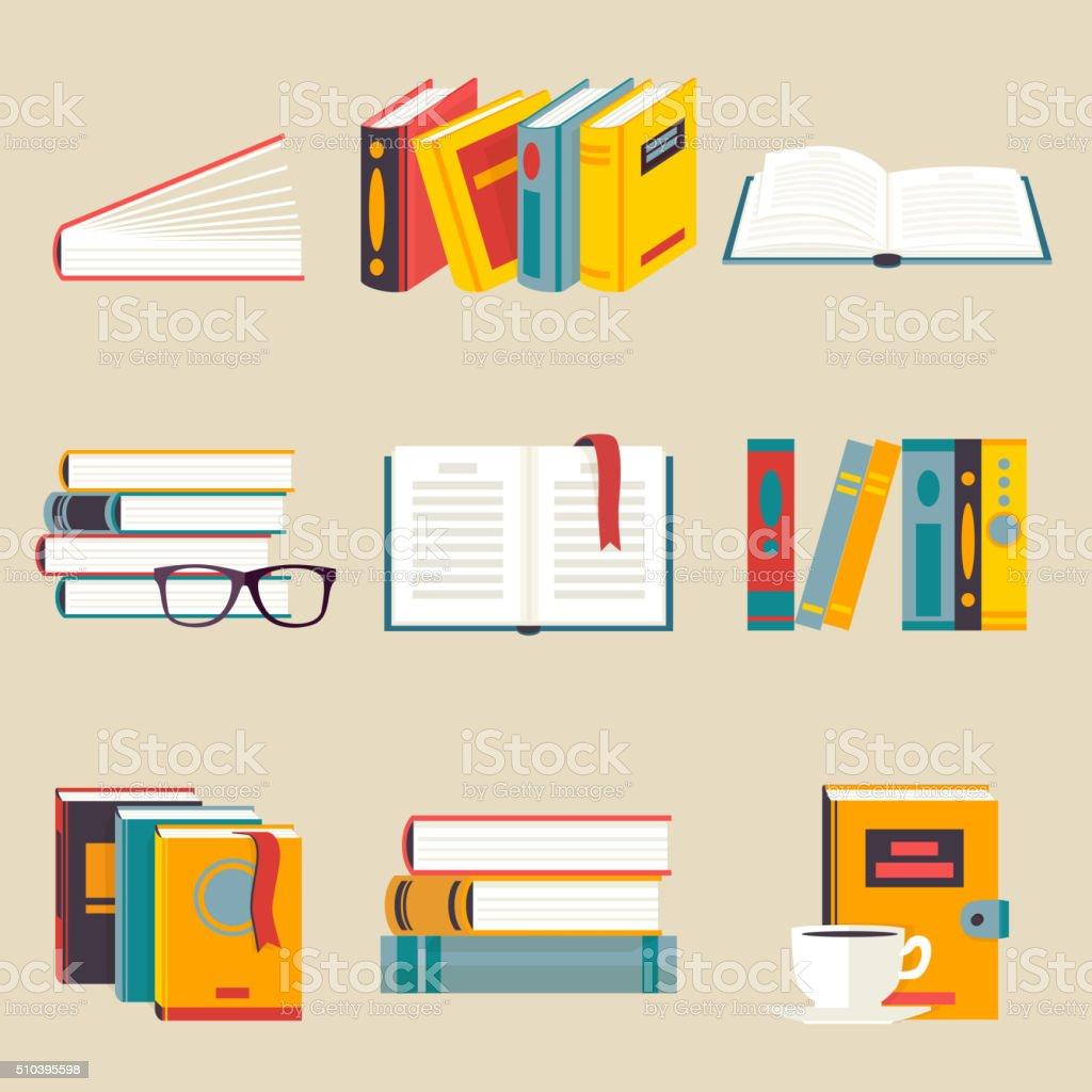 Set of books flat style vector art illustration
