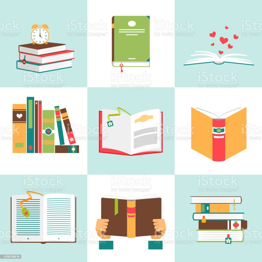 Set of books in flat design vector art illustration