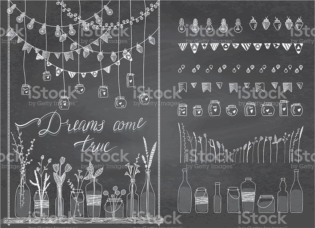 Set of borders,garlands, jars, bottles, flowers, flags, lamps vector art illustration