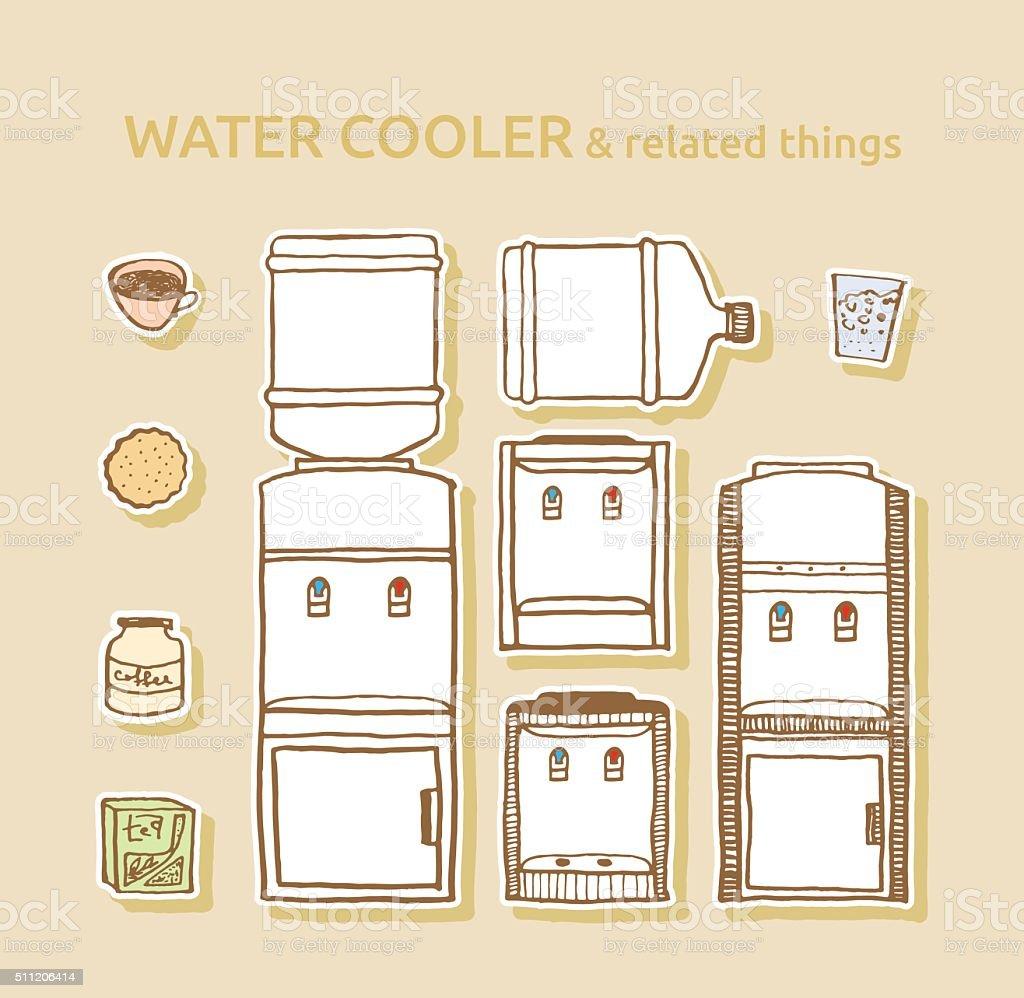 Set of bottled water coolers vector art illustration