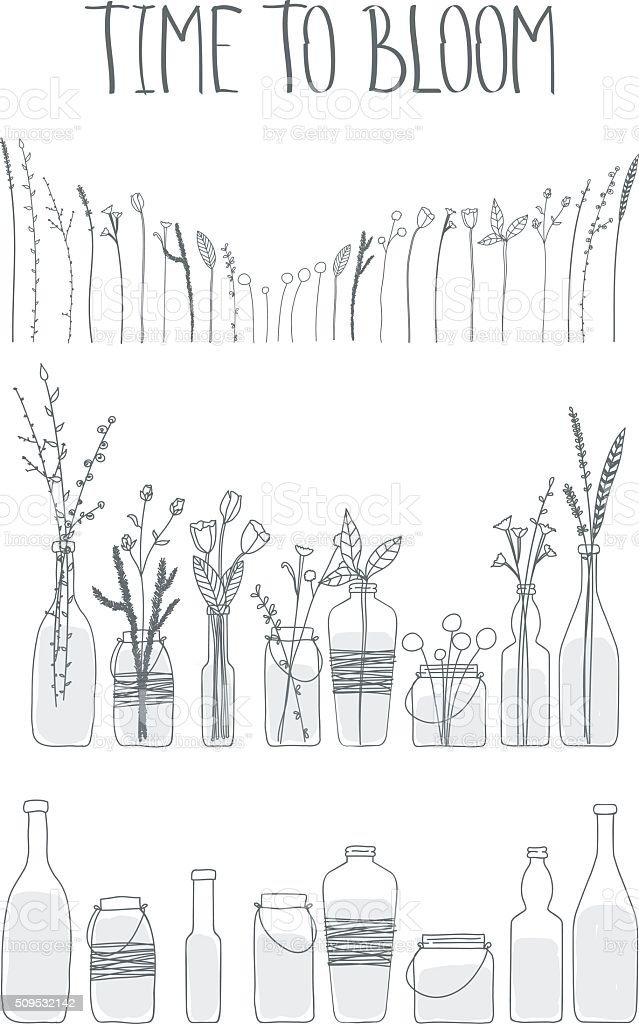 Set of bottles and jars with water and flowers. vector art illustration