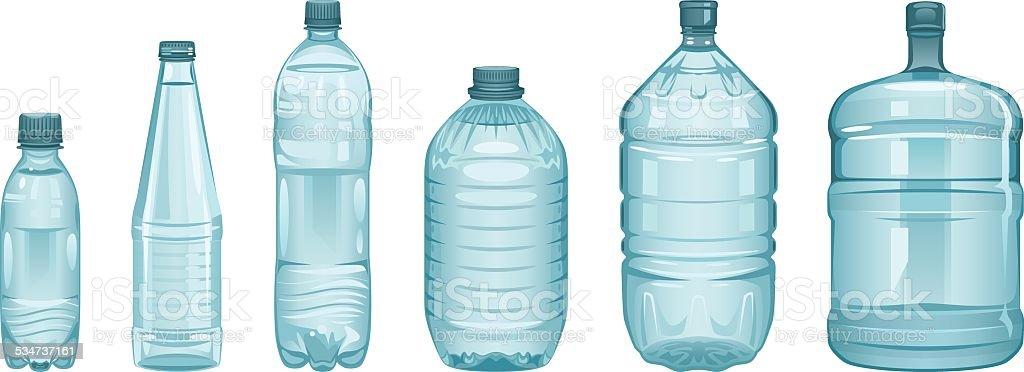 Set of bottles vector art illustration