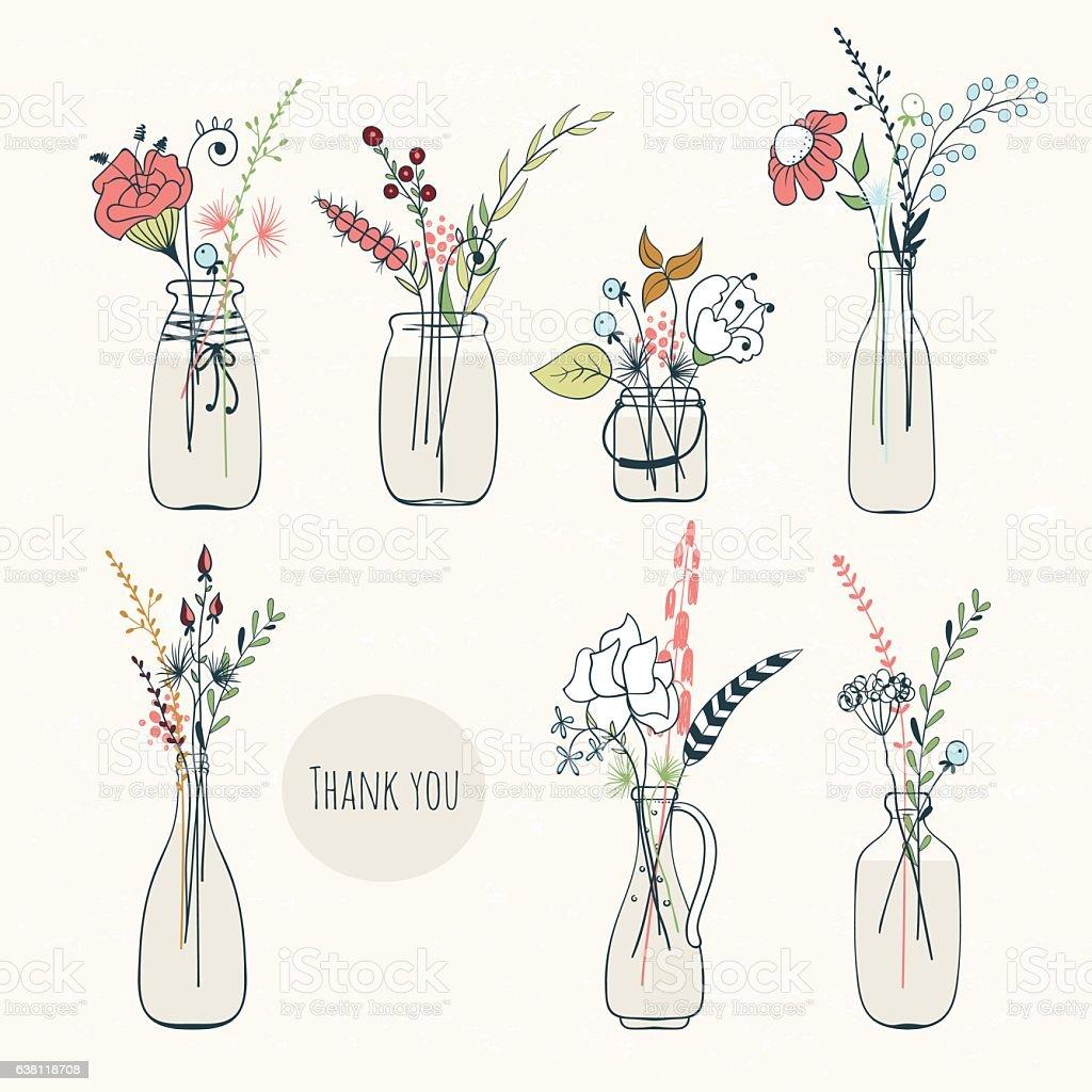 Set of bottles with flowers vector art illustration