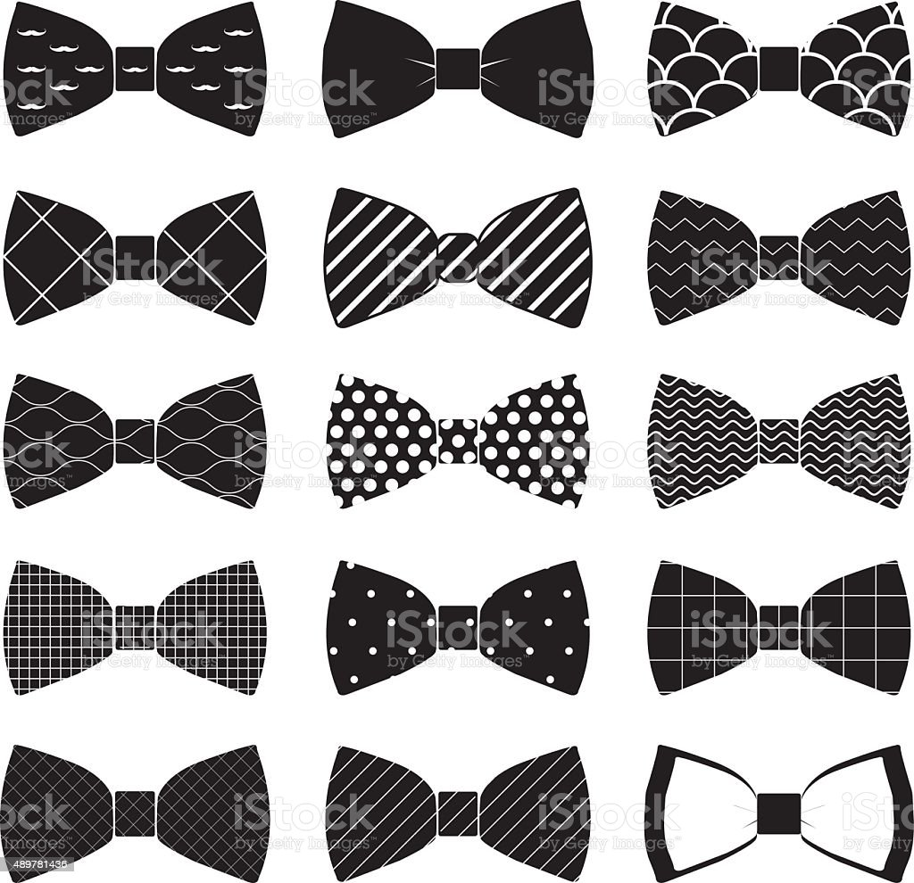 set of bow tie in vector on white background vector art illustration