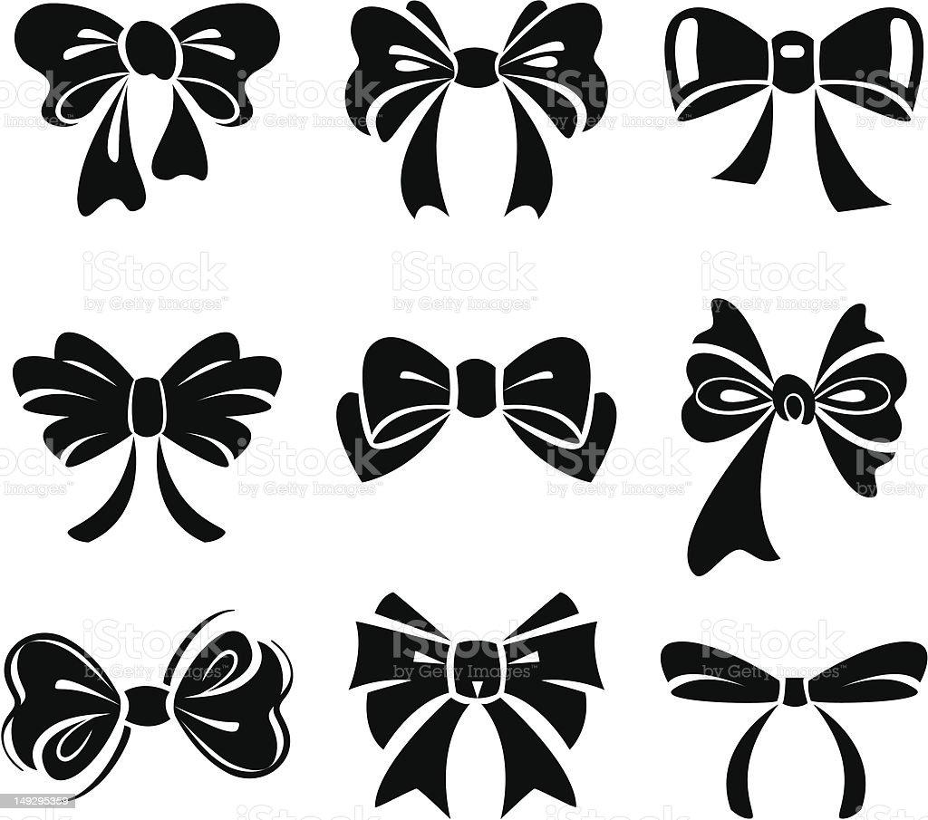 Set of bow vector art illustration