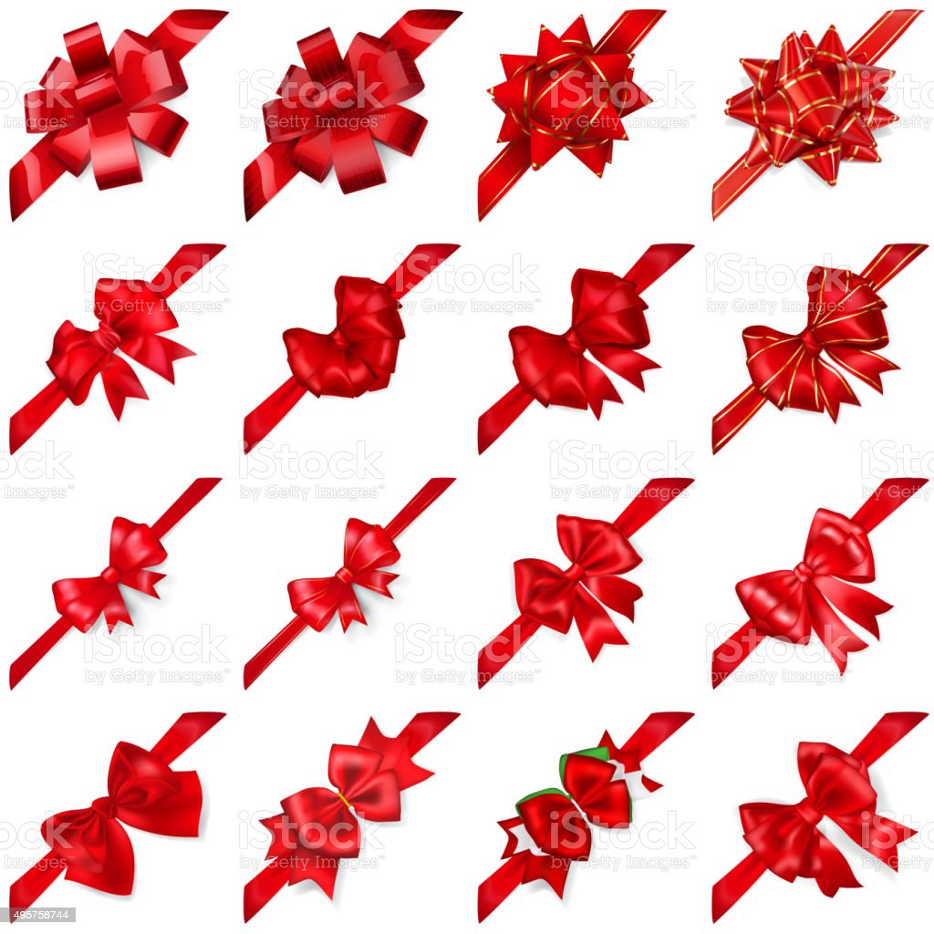 Set of bows with ribbons arranged diagonally vector art illustration