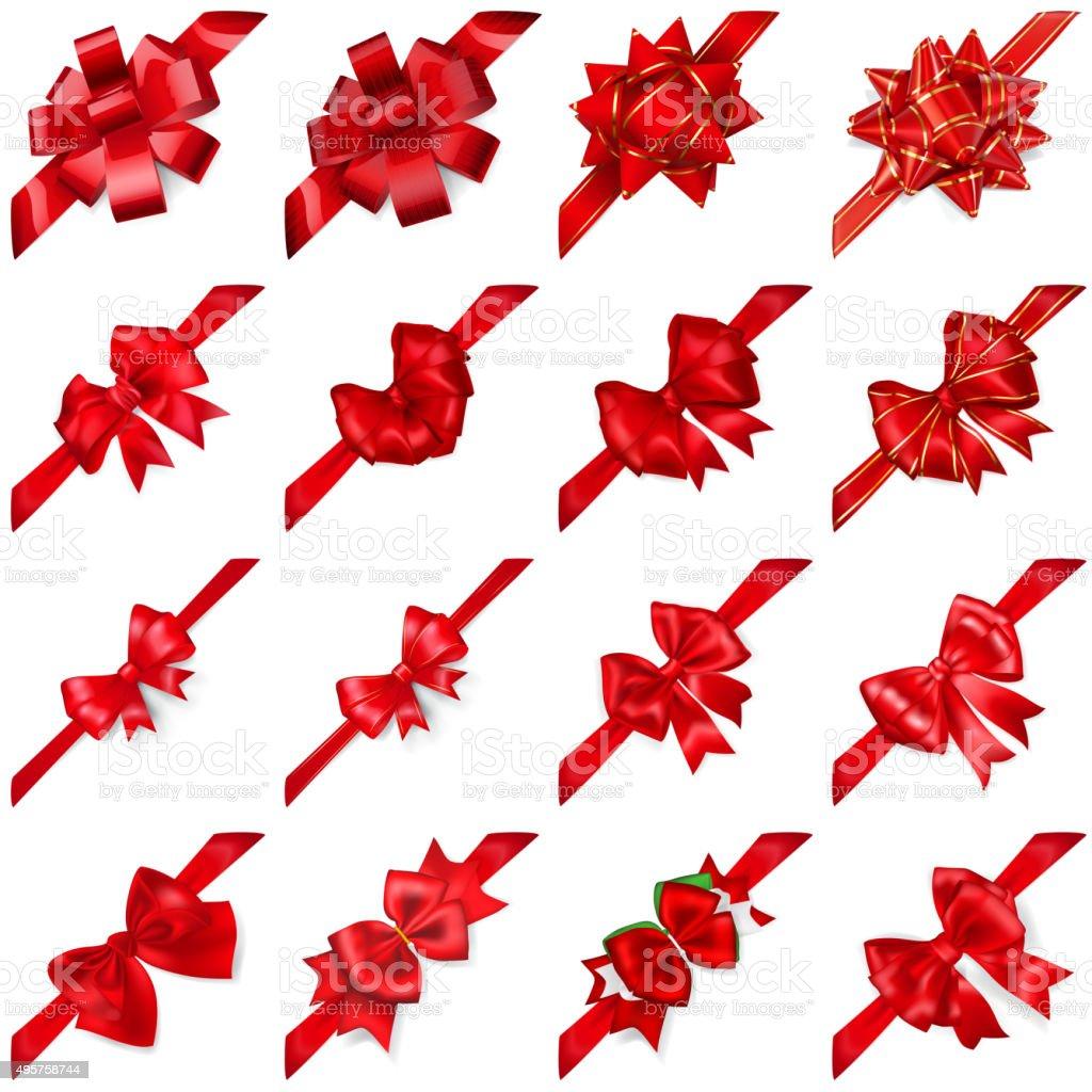 Set of bows with ribbons arranged diagonally vector art illustration