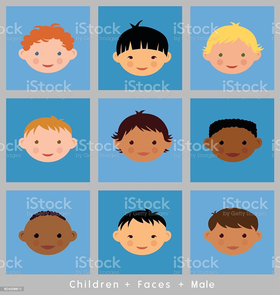 set of boys faces of different ethnicities. vector flat style. vector art illustration