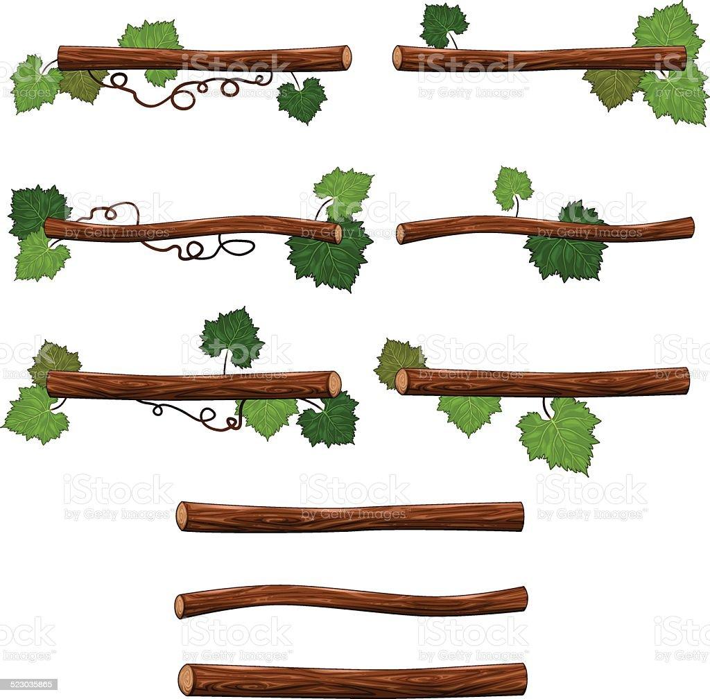 Set of branches. vector art illustration