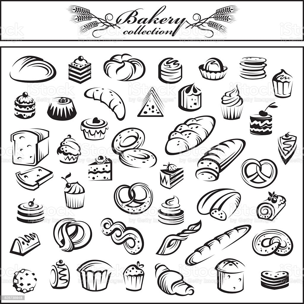 set of bread and bakery products vector art illustration