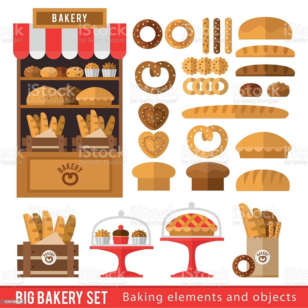 Set of bread products, bakery items vector art illustration