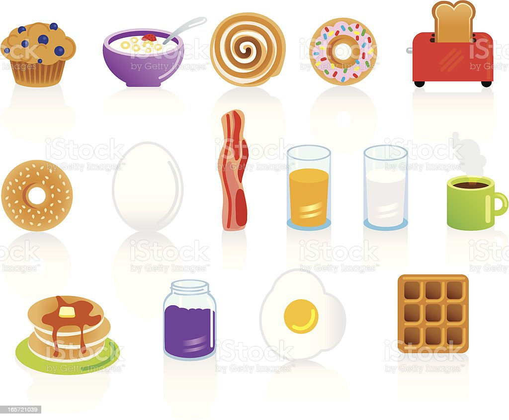 Set of breakfast food and drink items vector art illustration
