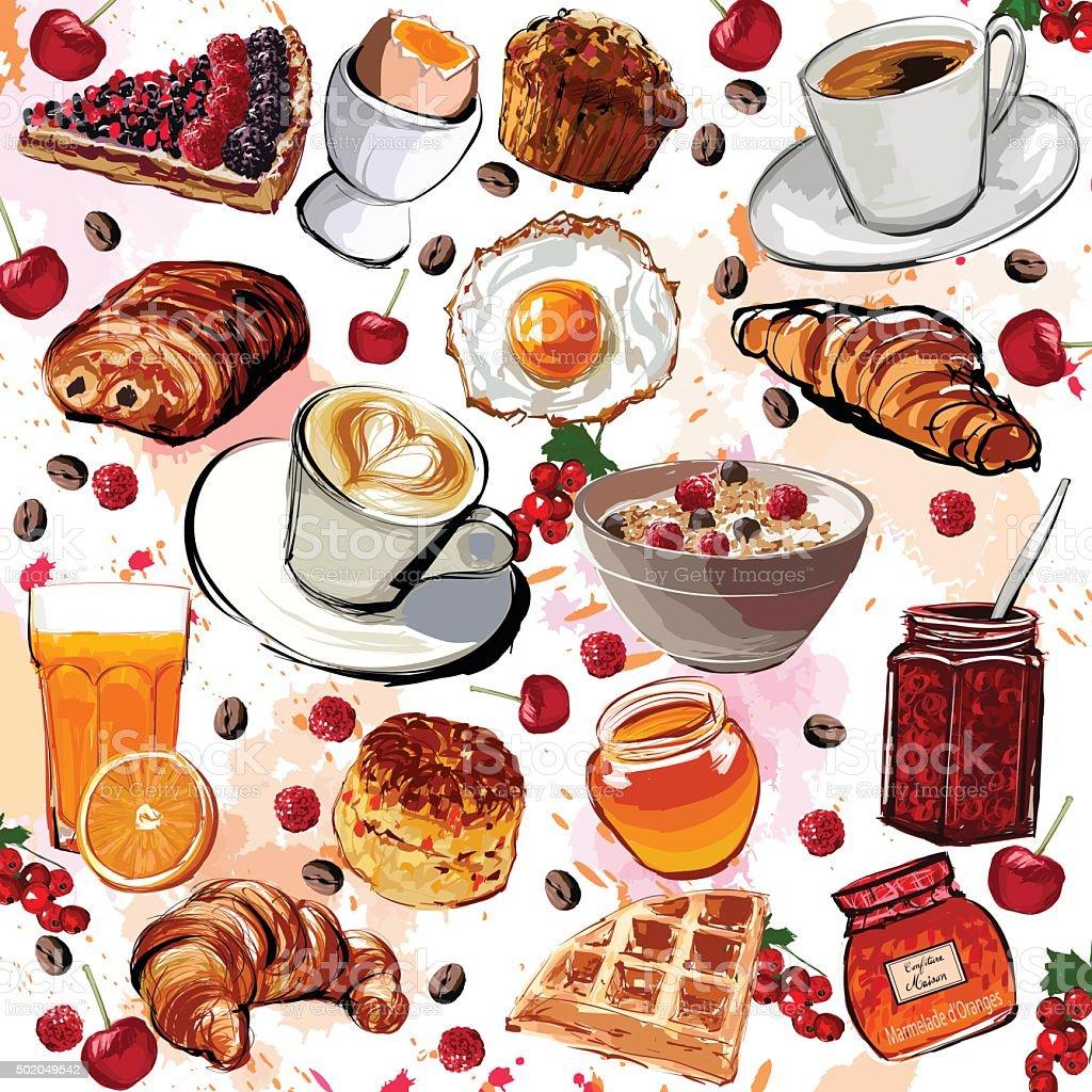 Set of breakfast food vector art illustration