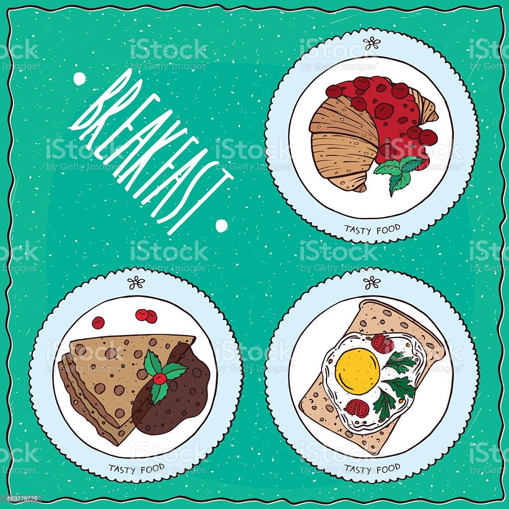 Set of breakfast in handmade cartoon style vector art illustration