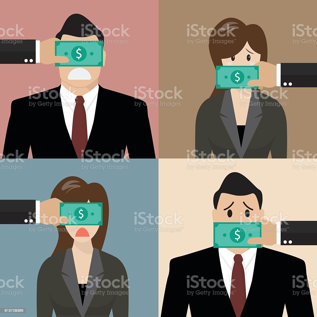 Set of bribery concept vector art illustration