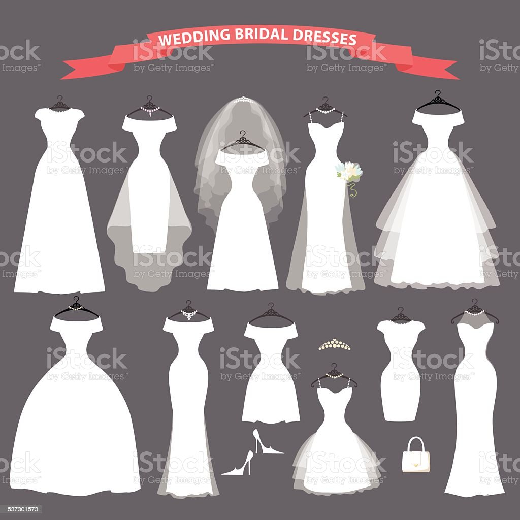 Set of bridal wedding dresses hang on ribbons vector art illustration